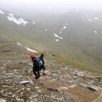 Steep descent from Ben Lawers - are the mists clearing?