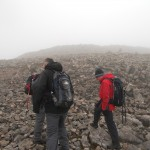 Preparing to cross the boulder field to the summit!