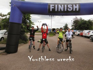 Team Youthless Wrecks celebrate the completion of the 2104 Ben Nevis Challenge